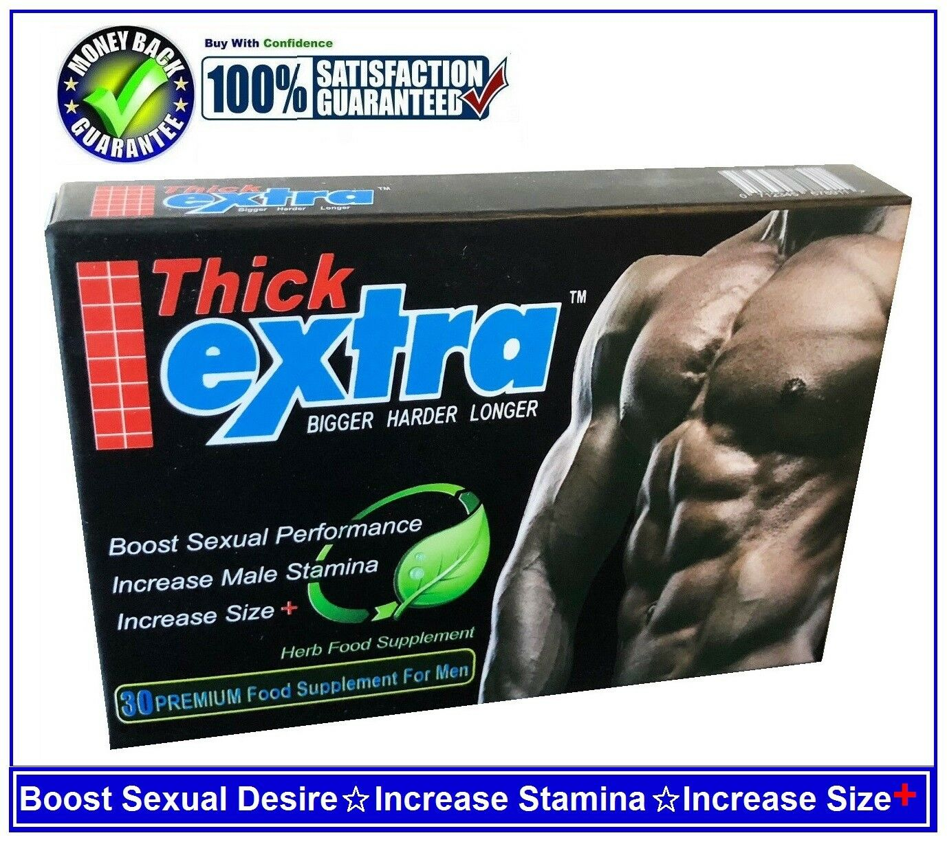 EXTRA THICK-PENIS ENLARGEMENT PILLS,BIGGER, LONGER & THICKER PENIS-30 CAPSULES