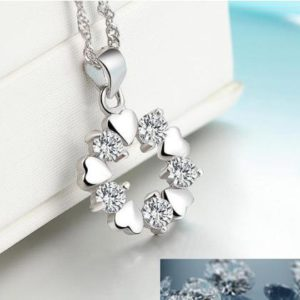 LUXURY STERLING 925 SILVER HEART&DIAM PENDANT NECKLACE FOR WOMEN