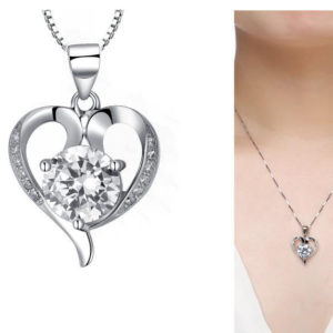 TOP!! LUXURY STERLING 925 SILVER HEART JEWEL PENDANT NECKLACE FOR WOMEN