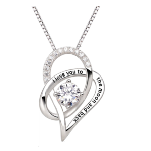 ELEGANT LUXURY STERLING 925 SILVER LOVE TO MOON PENDANT NECKLACE FOR WOMEN