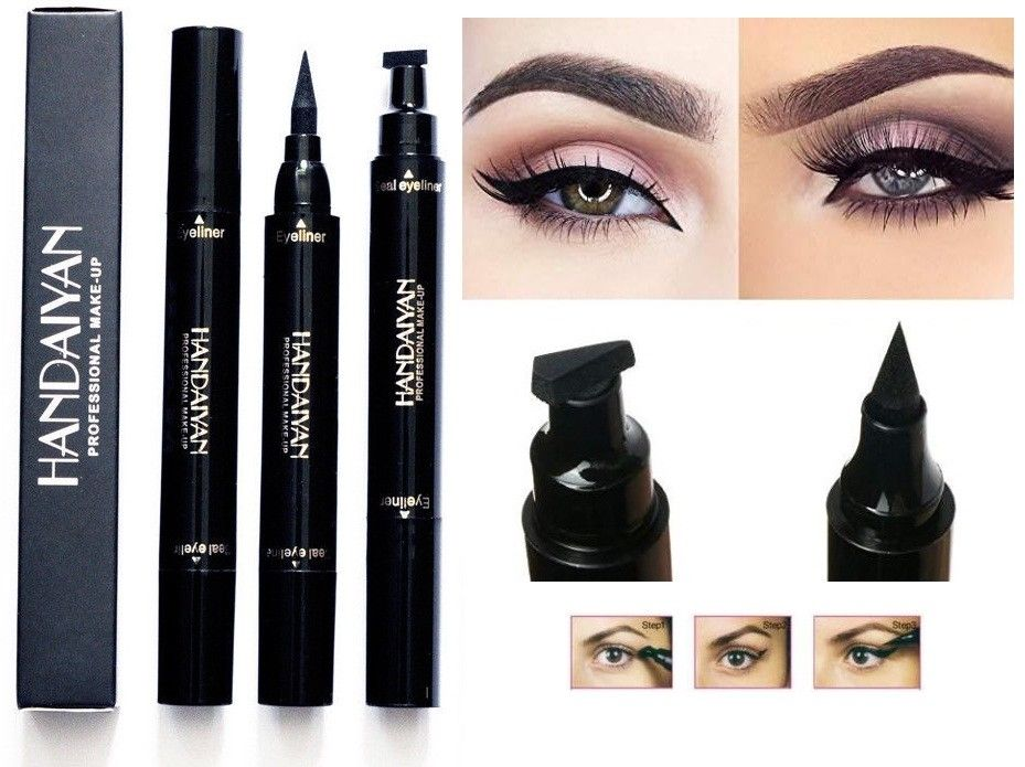 HANDAIYAN Double-end Triangle Stamp Eyeliner 2-in-1 Waterproof Winged Eyeliner