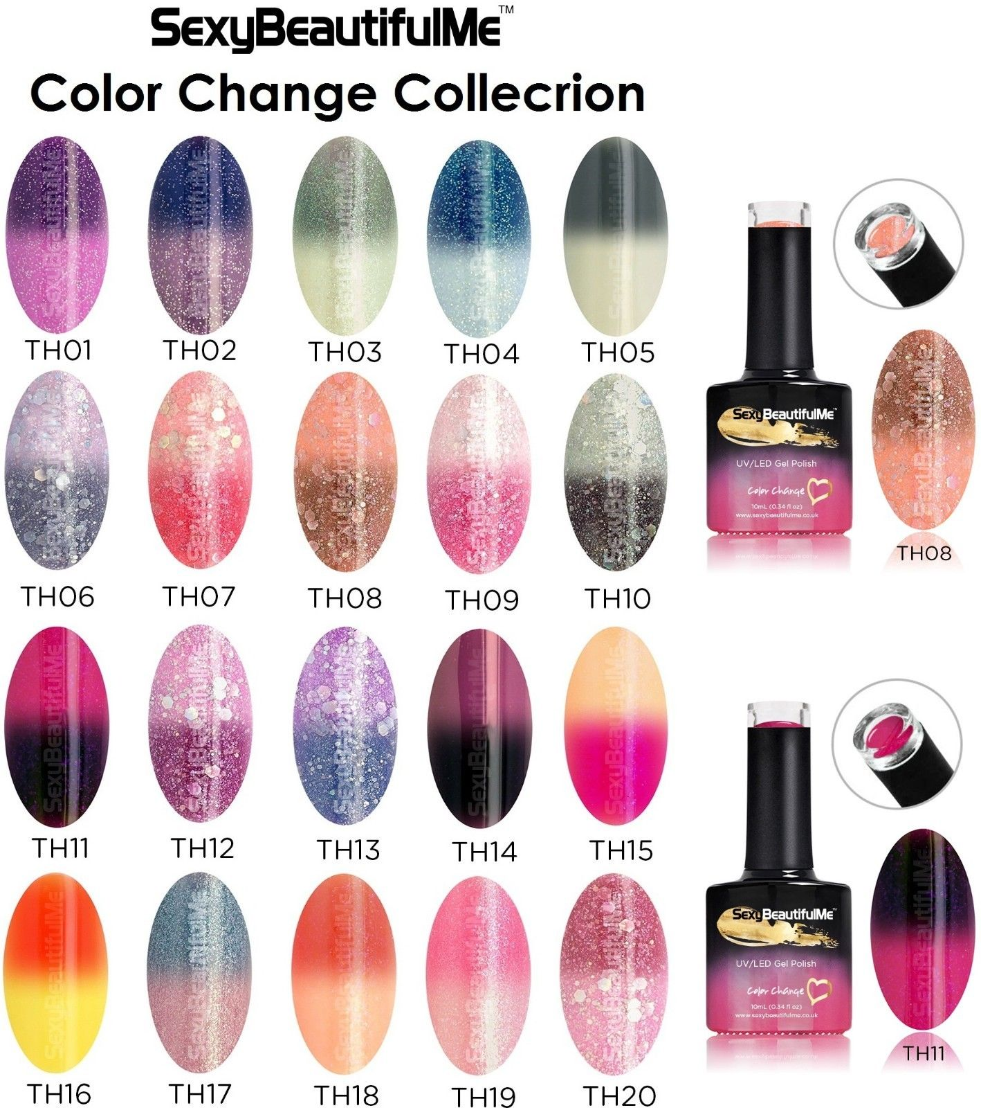 SBM® CHAMELEON THERMAL COLOR CHANGE GEL NAIL POLISH UV/LED SOAK OFF 10ml Bottle