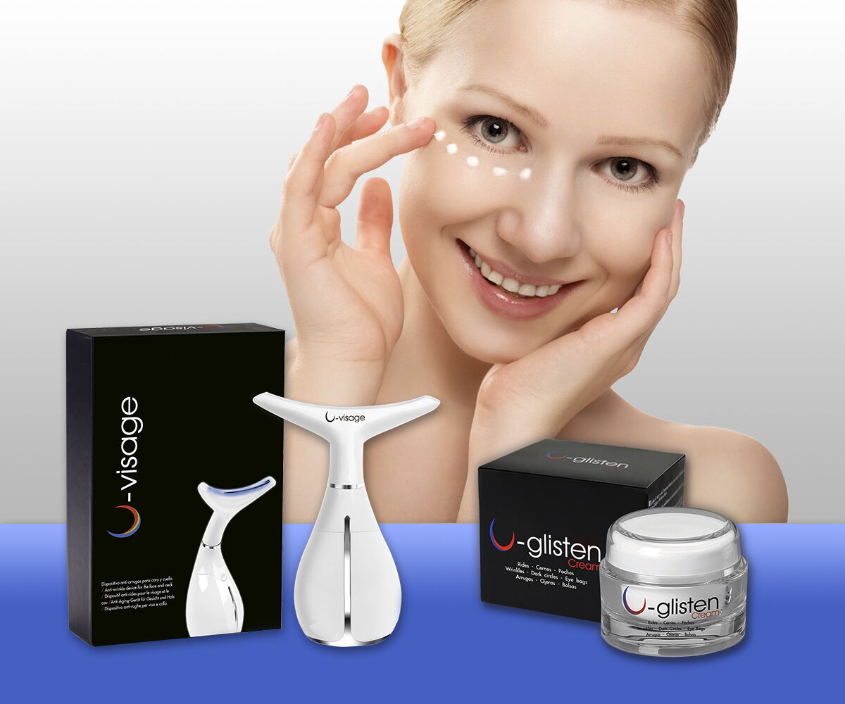 U-Glisten Device For Removing Eye Bags&Wrinkles without Surgery-Cream & Device