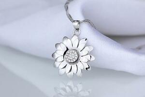 LUXURY STERLING 925 SILVER FLOWER STAR PENDANT NECKLACE FOR WOMEN