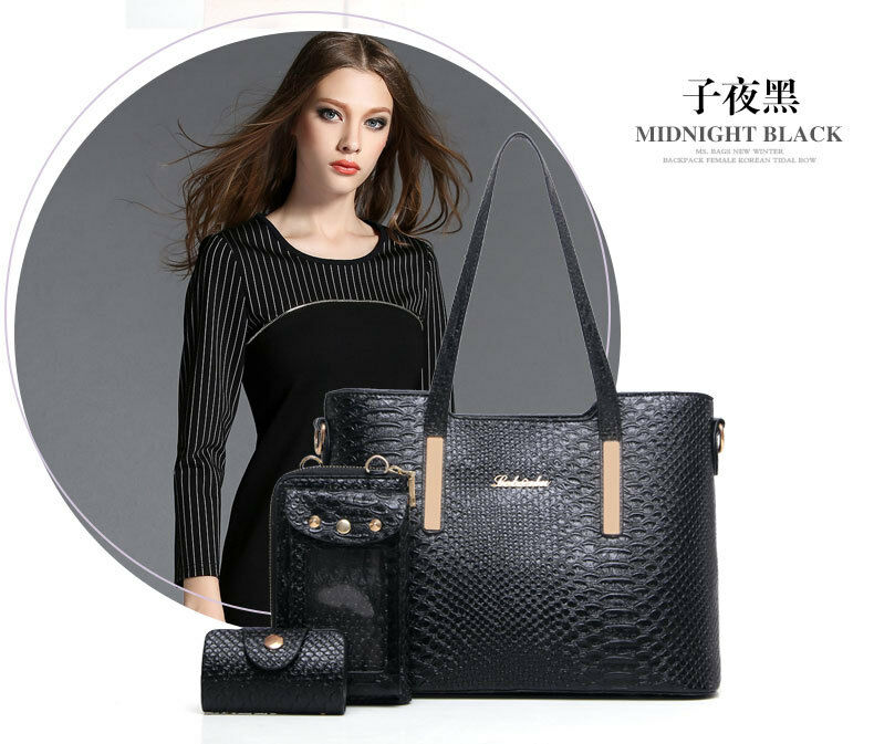 WOMEN FASHION STYLE HANDBAG TOTE HANDBAGS- PURSE&BAGS 3 SETS-100%LUXURY&PREMIUM