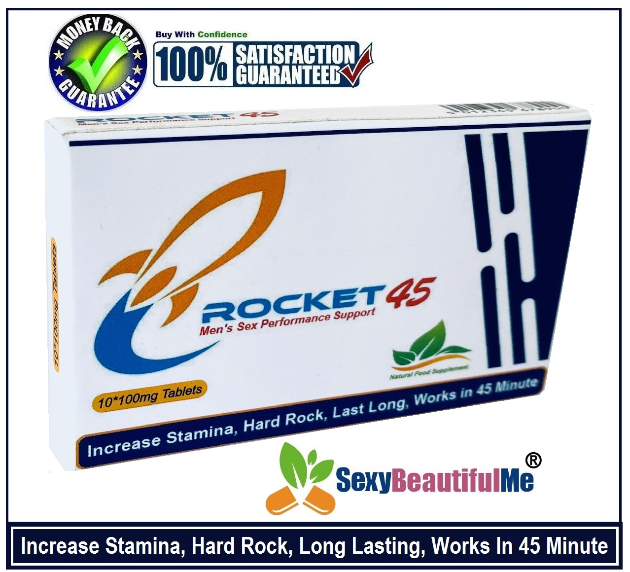 'ROCKET45' Sex Caps/Pills/Tabs For Men-Harder,Stronger & Longer Pleasure-10Pills